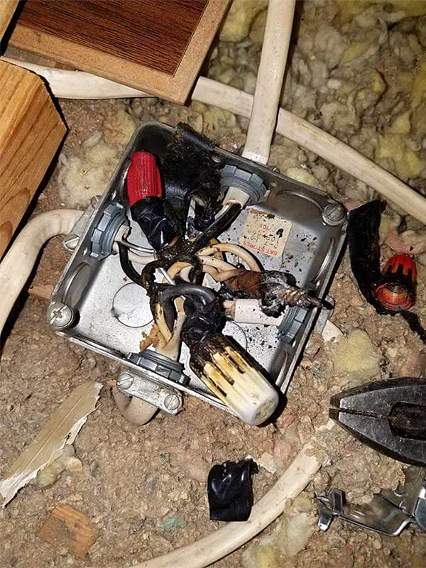 Junction box fire.