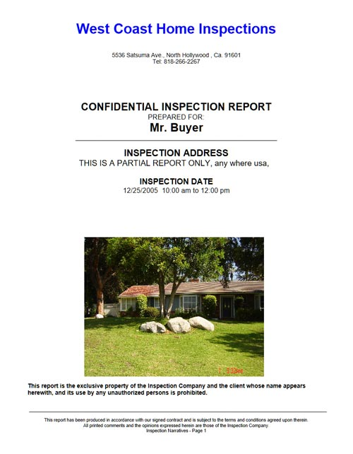 Sample Home Inspection Report  West Coast Home Inspections